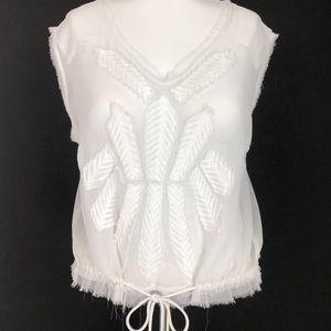 Free people sheer tank top lace blouse shine large